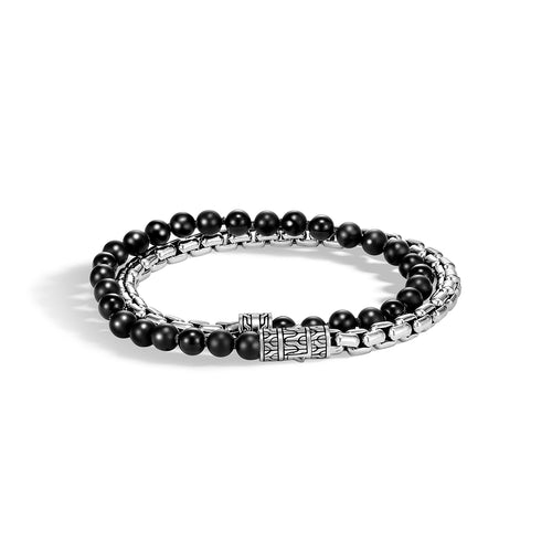 John Hardy Men's Classic Chain Sterling Silver Wrap Bracelet with Black Onyx