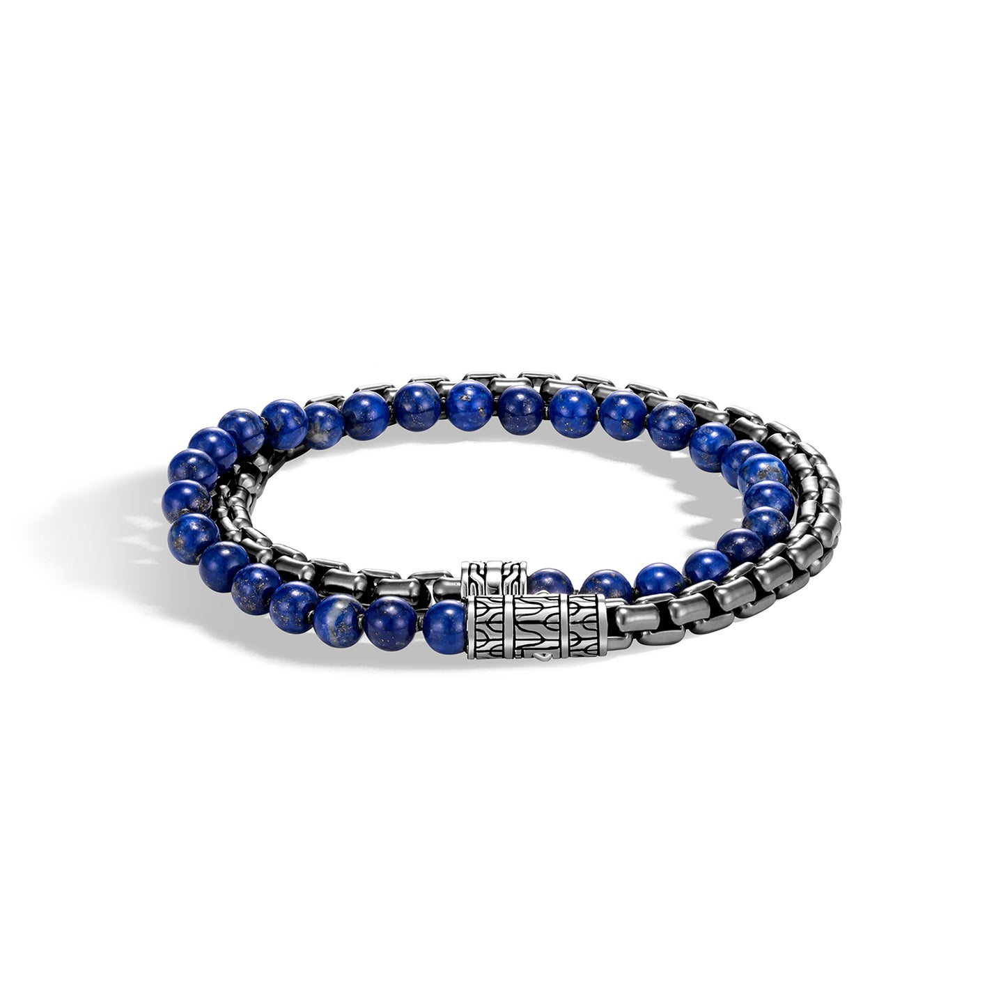 John Hardy Men's Classic Chain Lapis Lazuli Bead and Box Chain Wrap Bracelet