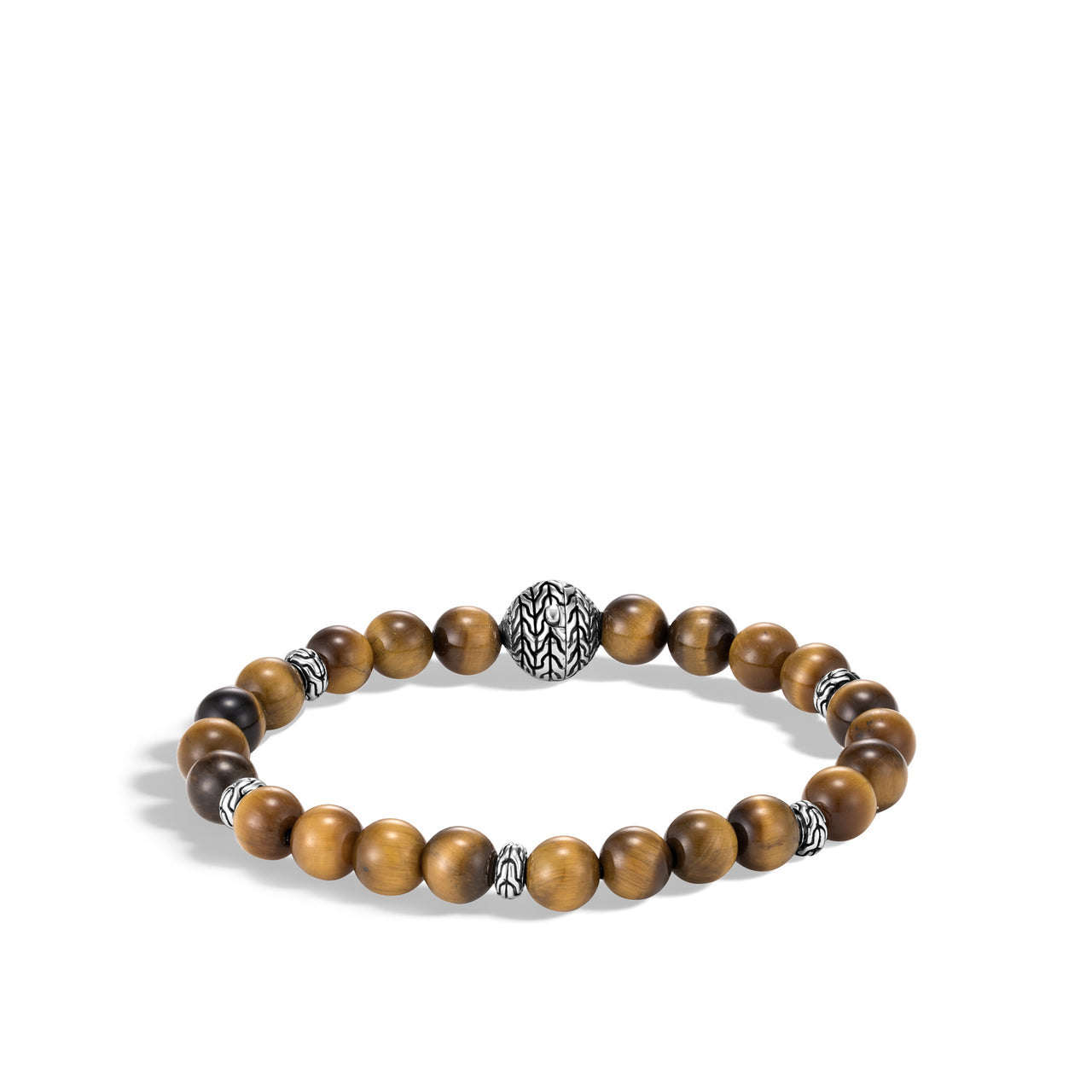 John Hardy Men's Classic Chain Sterling Silver and Tiger's Eye Beaded Bracelet