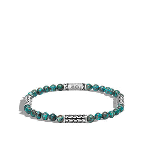 John Hardy Men's Classic Chain Chrysocolla Bead and Sterling Silver Station Bracelet