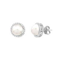 Sabel Pearl 14K White Gold Pearl and Diamond Halo Stud Earrings