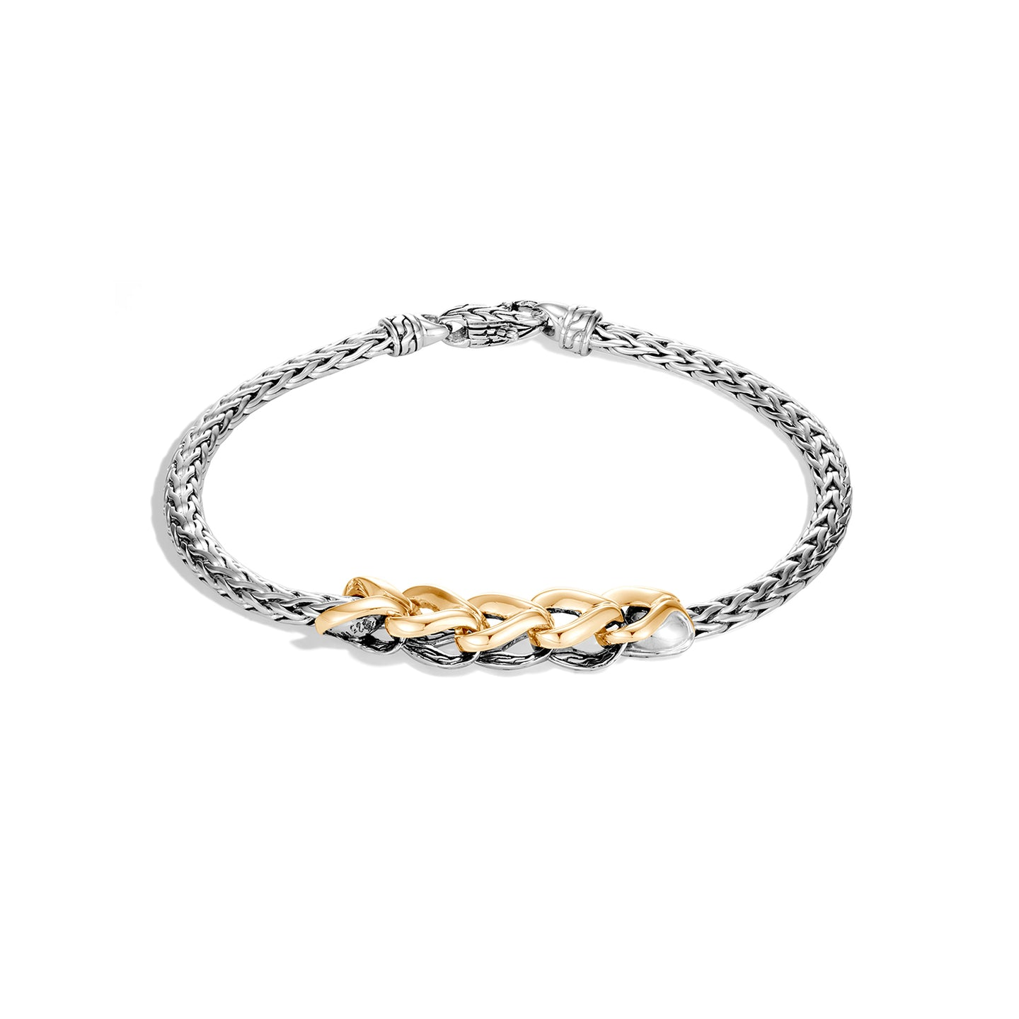 John Hardy Classic Chain Sterling Silver and 18K Yellow Gold Asli Station Bracelet