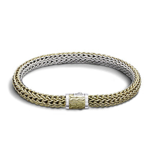 John Hardy Classic Chain Sterling Silver and 18K Yellow Gold Small Reversible Bracelet