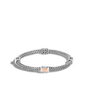 John Hardy Classic Chain Sterling Silver and Bonded Rose Gold Station Bracelet