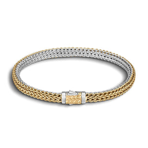 John Hardy Classic Chain Sterling Silver and 18K Yellow Gold Extra-Small Reversible Bracelet