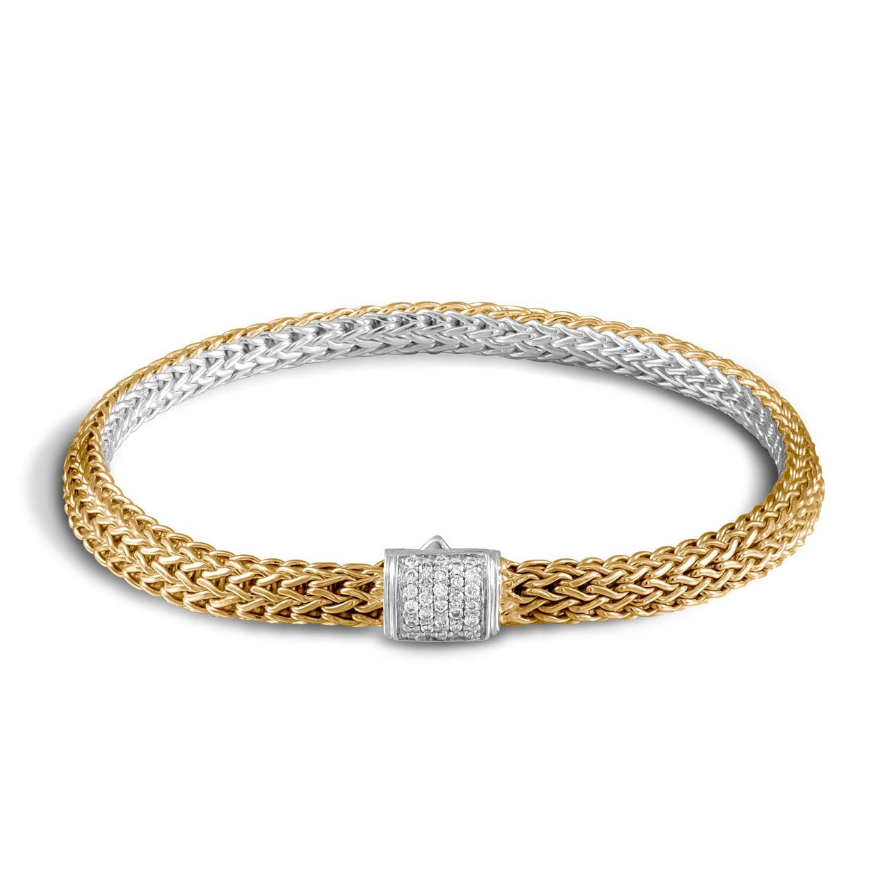 John Hardy Classic Chain Extra Small Reversible Bracelet with Diamond Pavé