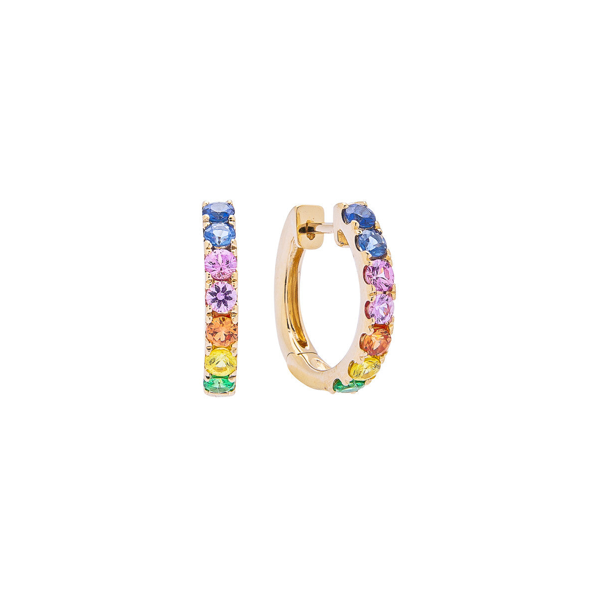 Sabel Collection 14K Yellow Gold Round Rainbow Sapphire Hoop Earrings