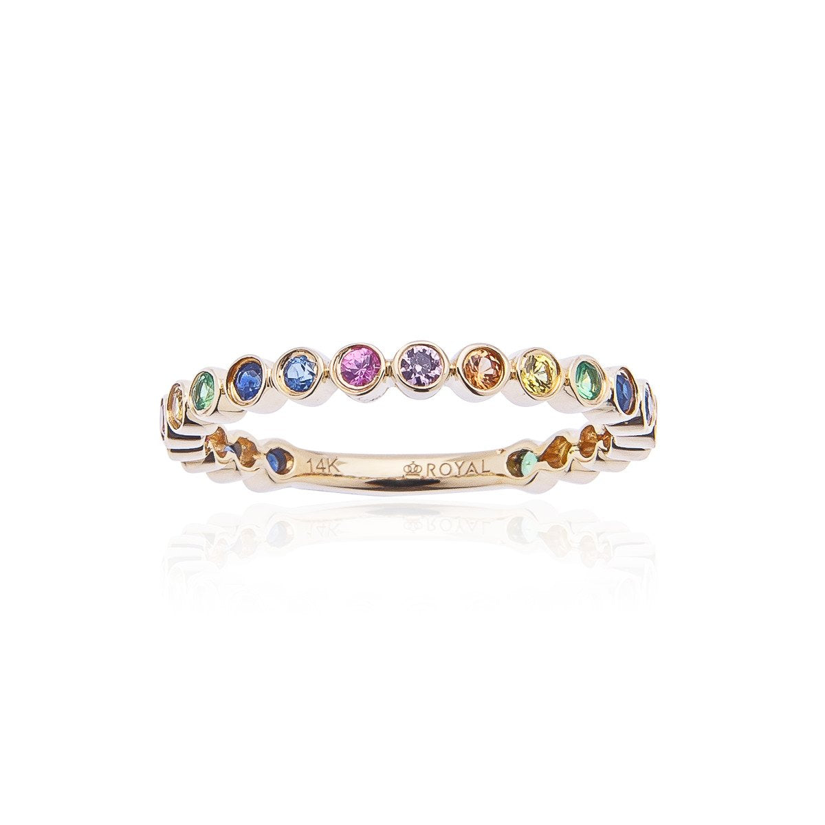 Sabel Collection 14K Yellow Gold Bezel Set Rainbow Sapphire Stacking Ring