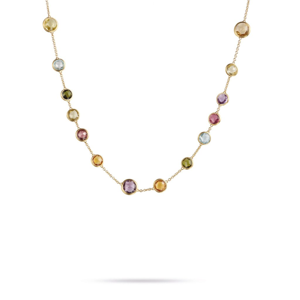 Marco Bicego Jaipur Color 18K Yellow Gold Gemstone Station Necklace