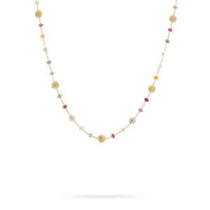Marco Bicego Africa 18K Yellow Gold Mixed Gemstone and Freshwater Pearl Station Necklace