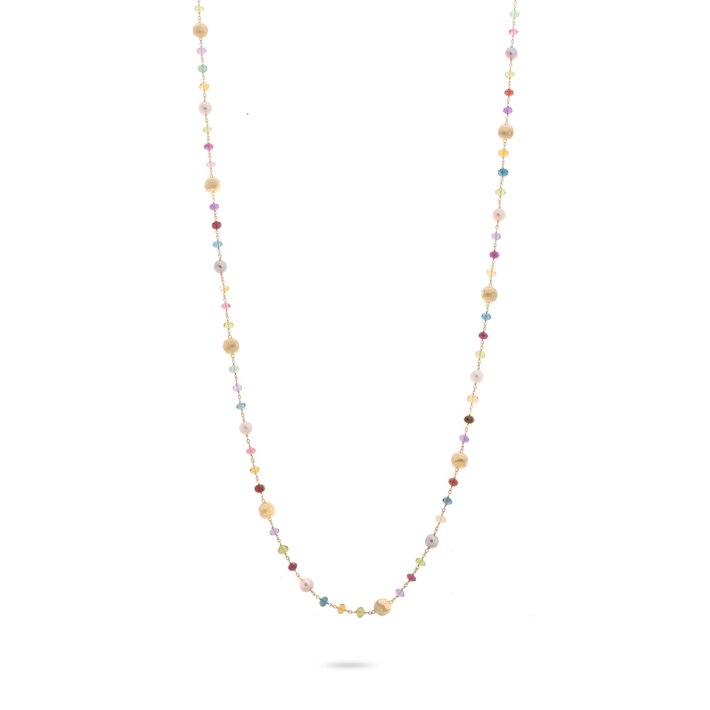 Marco Bicego Africa 18K Yellow Gold Mixed Gemstone and Freshwater Pearl Sautoir Necklace