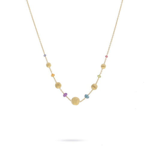 Marco Bicego Africa 18K Yellow Gold Multi-Colored Gemstone Station Necklace