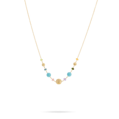 Marco Bicego Africa 18K Yellow Gold Turquoise and Mixed Gemstone Station Necklace