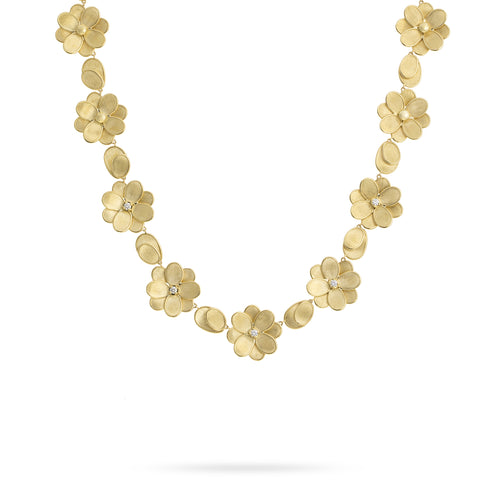 Marco Bicego Petali 18K Yellow Gold Hand-Engraved Flower Necklace with Diamond Accents