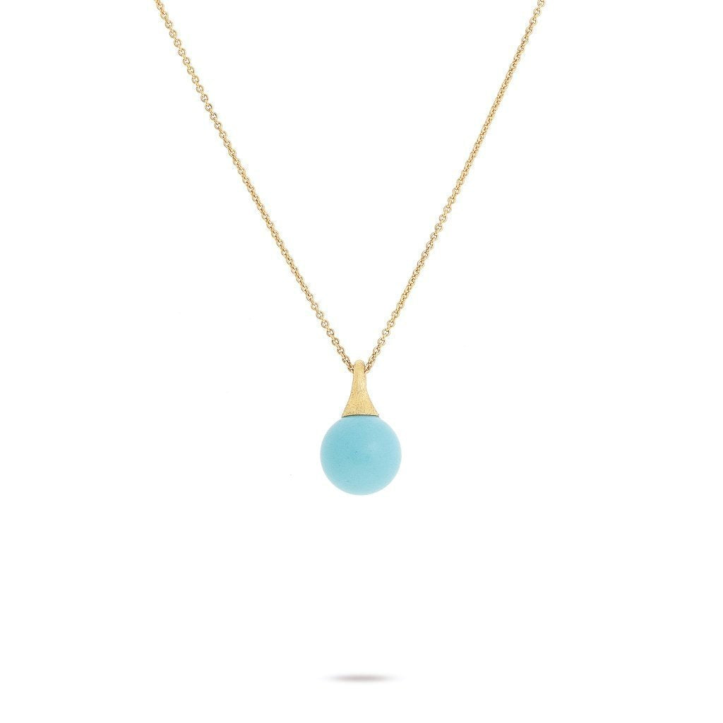 Marco Bicego Africa 18K Yellow Gold Turquoise Boule Pendant Necklace