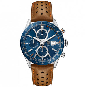 TAG Heuer Men's Carrera Automatic Chronograph Calibre 16 Blue Dial Watch with Leather Strap