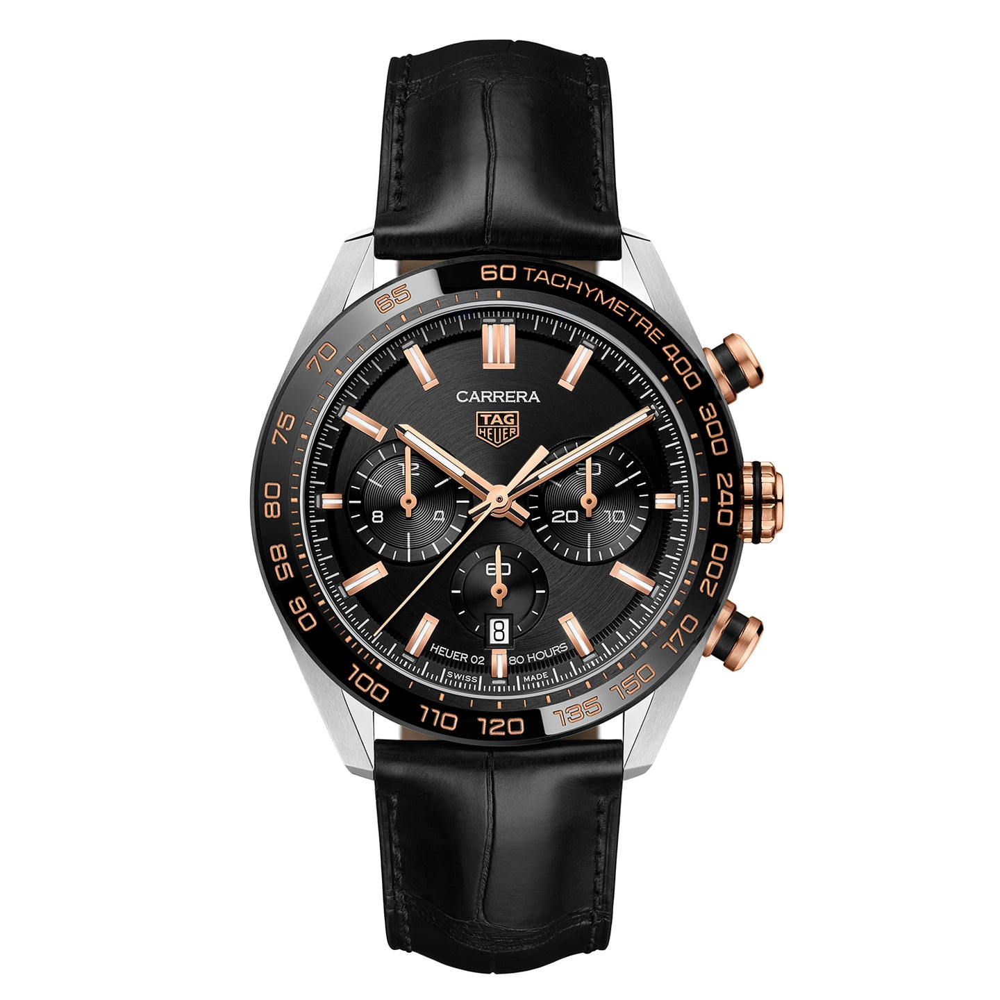 TAG Heuer Carrera Men's Automatic Sport Chronograph 44mm Black Dial Watch with Leather Strap