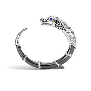 John Hardy Legends Naga Sterling Silver and Hematite Flex Cuff with Blue Sapphire Eyes