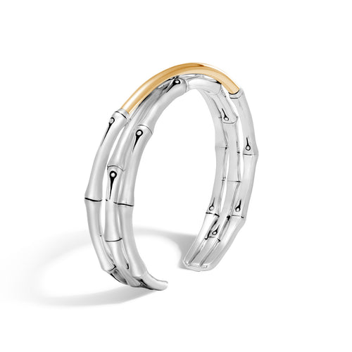 John Hardy Bamboo Sterling Silver and Yellow Gold Crossover Cuff