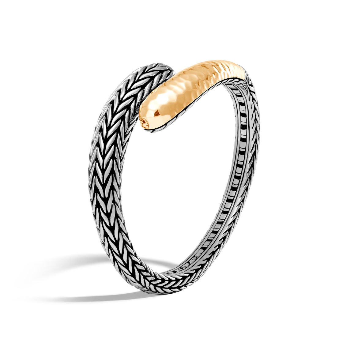 John Hardy Classic Chain Sterling Silver and Hammered Yellow Gold Kick Cuff