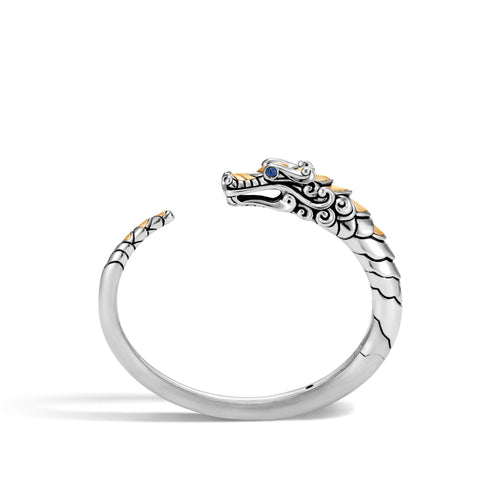 John Hardy Legends Naga Sterling Silver and 18k Yellow Gold Kick Cuff with Blue Sapphire Eyes