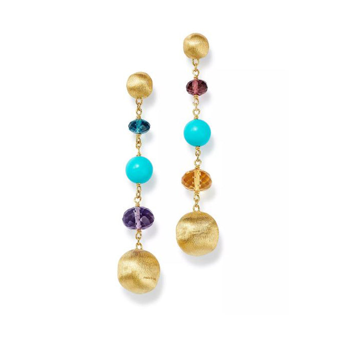 Marco Bicego Africa 18K Yellow Gold Turquoise and Mixed Gemstone Drop Earrings