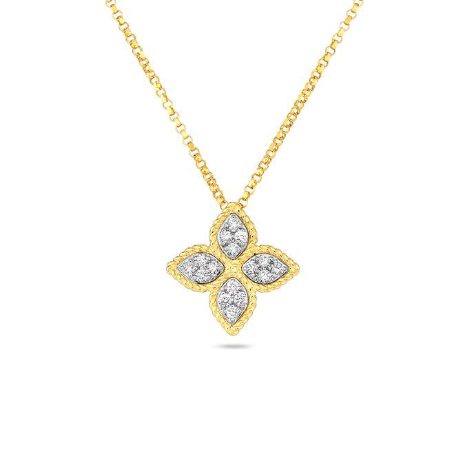 Roberto Coin Princess Flower 18K Yellow Gold and Diamond Medium Pendant Necklace