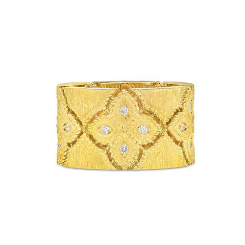 Roberto Coin Venetian Princess 18K Yellow Gold Diamond Wide Satin Band