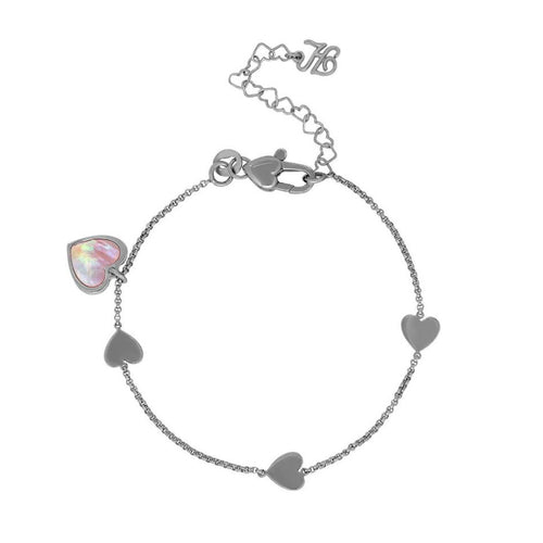 Honora Girls' Pink Mother-of-Pearl Heart Link Bracelet