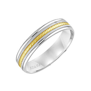 Diana Men's 5mm White and Yellow Gold Rope Design Wedding Band