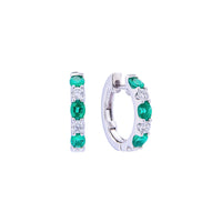 Sabel Collection 18K White Gold Oval Emerald and Diamond Hoop Earrings