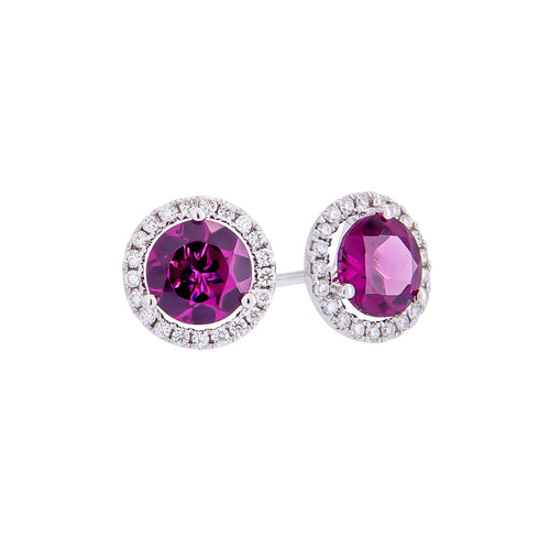 Sabel Collection 14K White Gold Round Rhodolite Garnet and Diamond Halo Stud Earrings