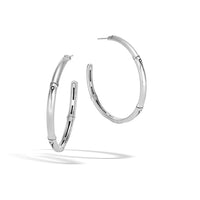 John Hardy Bamboo Sterling Silver High Shine Large Hoop Earrings