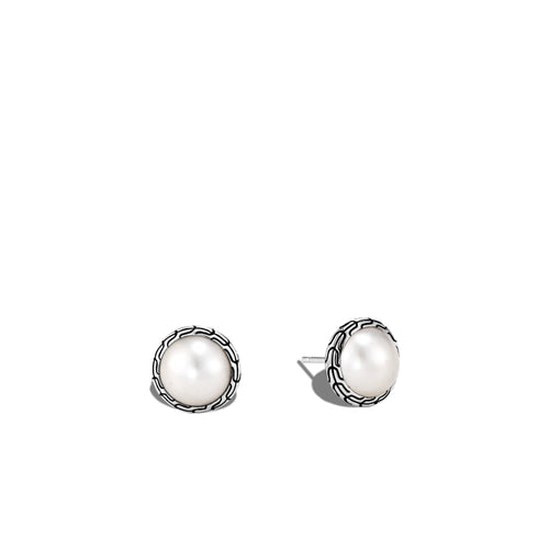 John Hardy Classic Chain Sterling Silver Mabe Freshwater Pearl Stud Earrings