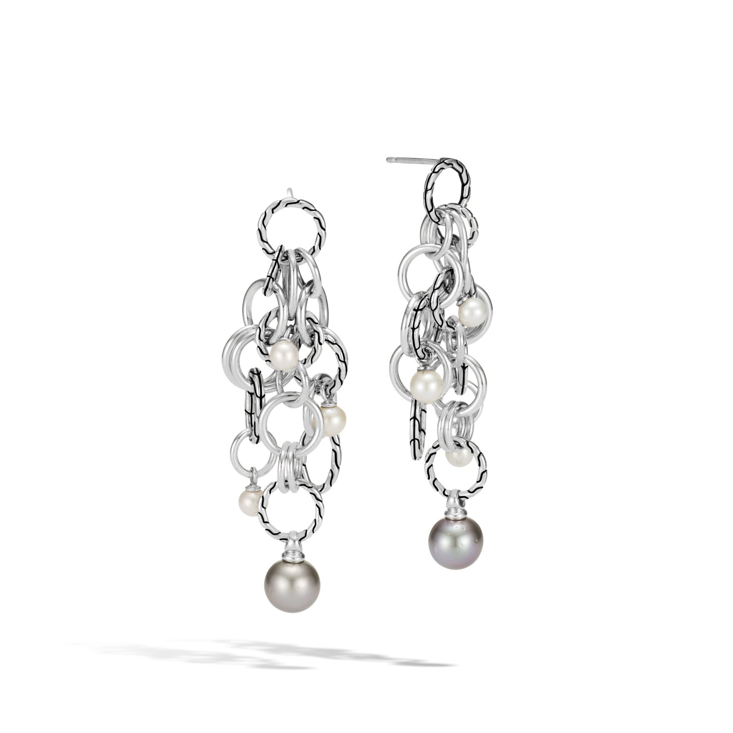 John Hardy Classic Chain Sterling Silver Tahitian Pearl Drop Earrings