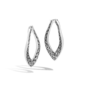 John Hardy Classic Chain Sterling Silver Large Wave Hoop Earrings