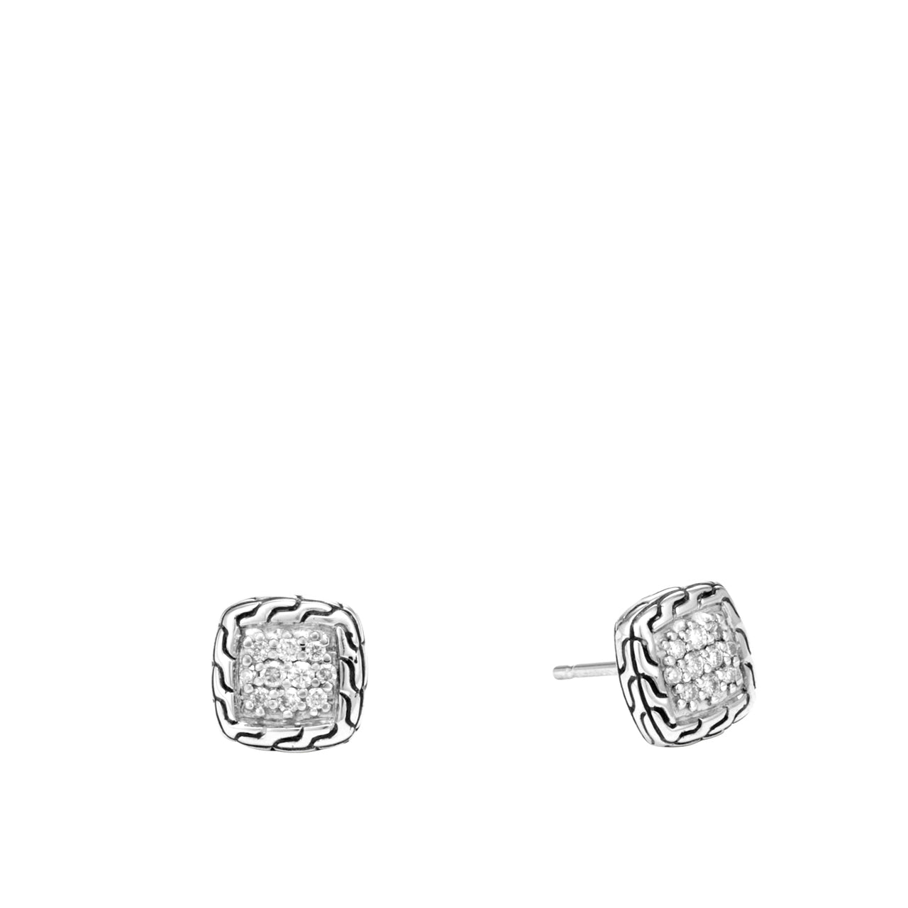 John Hardy Classic Chain Sterling Silver Diamond Pavé Stud Earrings
