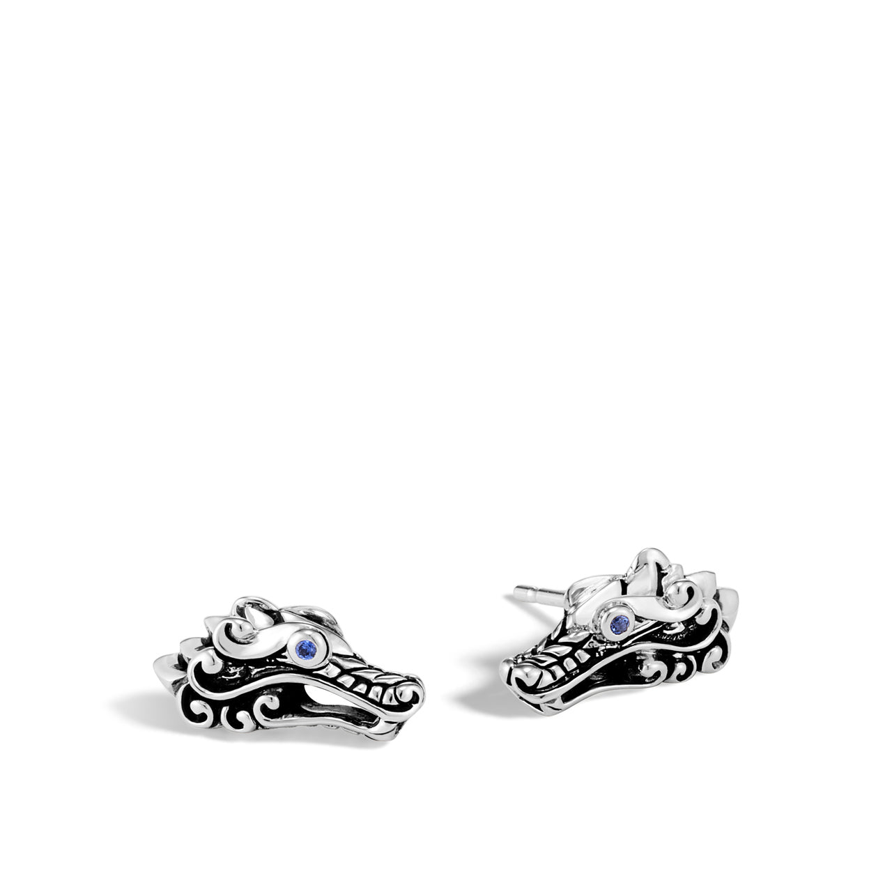 John Hardy Legends Naga Sterling Silver Stud Earrings with Blue Sapphire Eyes