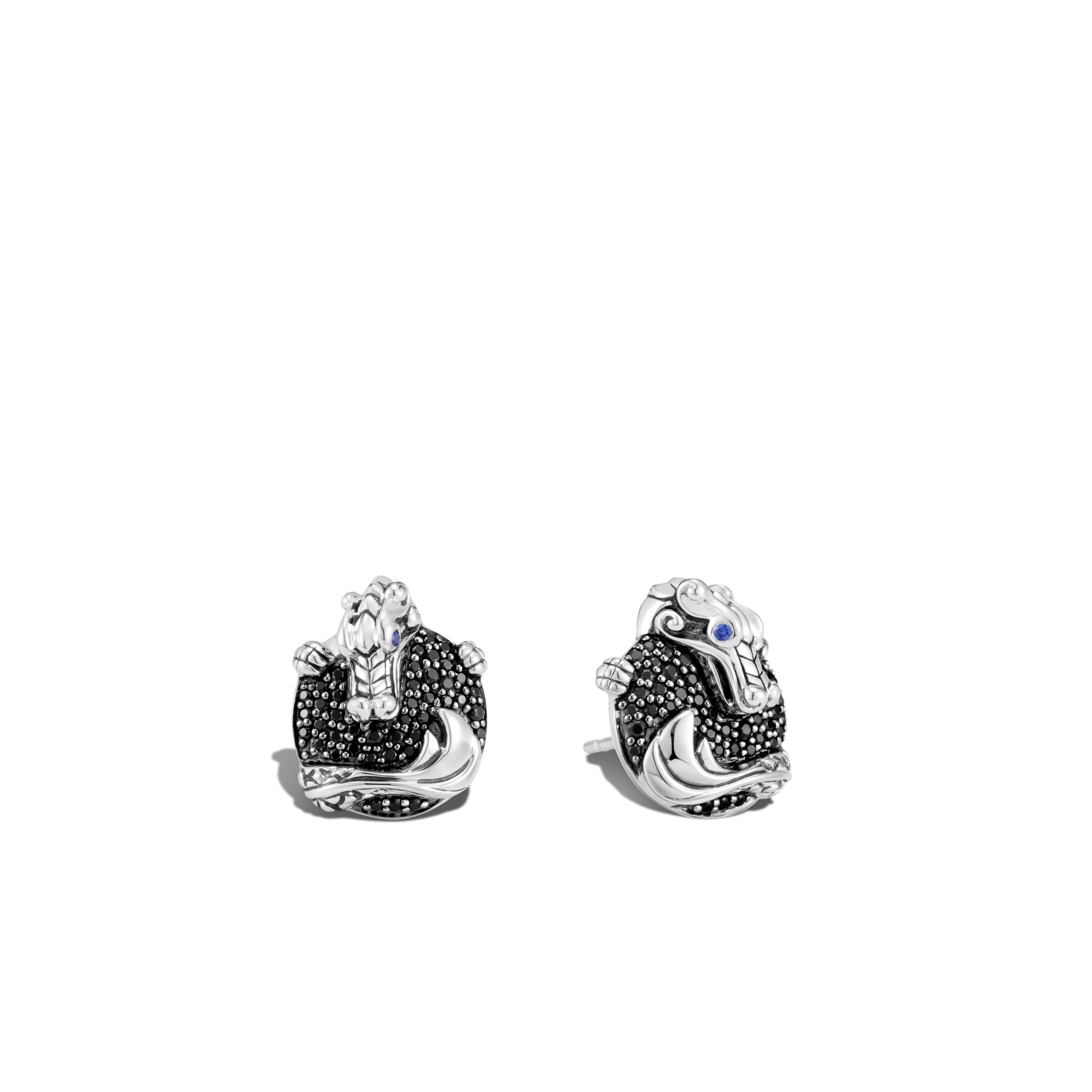 John Hardy Legends Sterling Silver Naga Stud Earrings with Black Sapphire