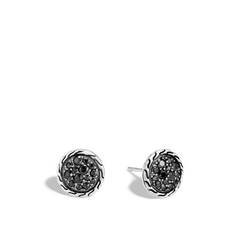 John Hardy Classic Chain Sterling Silver Black Sapphire Stud Earrings