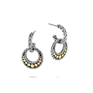 John Hardy Dot Sterling Silver and Yellow Gold Drop Earrings