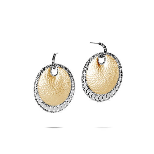 John Hardy Dot 18K Yellow Gold and Sterling Silver Large Hammered Disc Earrings