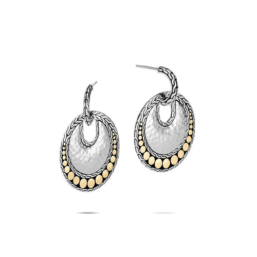 John Hardy Dot Sterling Silver and Yellow Gold Circle Drop Earrings