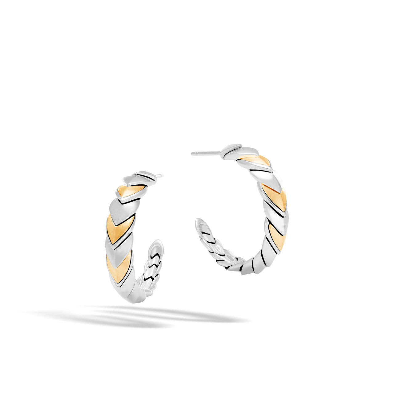 John Hardy Legends Naga Sterling Silver and Yellow Gold Small Hoop Earrings