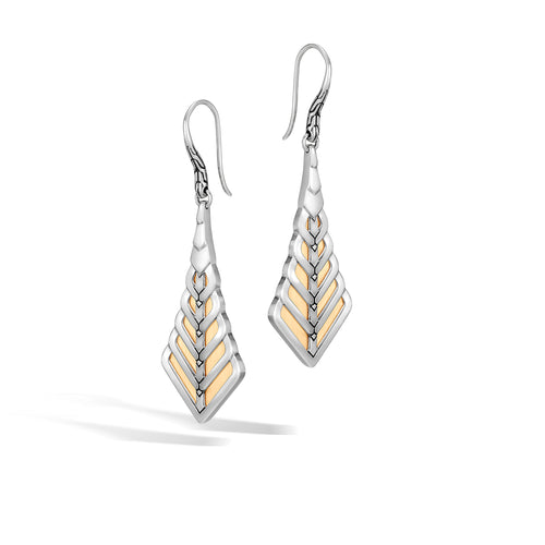 John Hardy Modern Chain Sterling Silver and Yellow Gold Drop Earrings