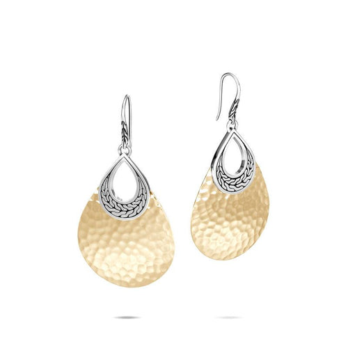 John Hardy Classic Chain 18K Yellow Gold and Sterling Silver Hammered Teardrop Dangle Earrings