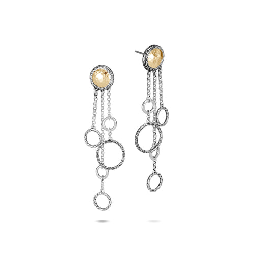 John Hardy Sterling Silver and 18K Yellow Gold Chandelier Hammered Drop Earrings