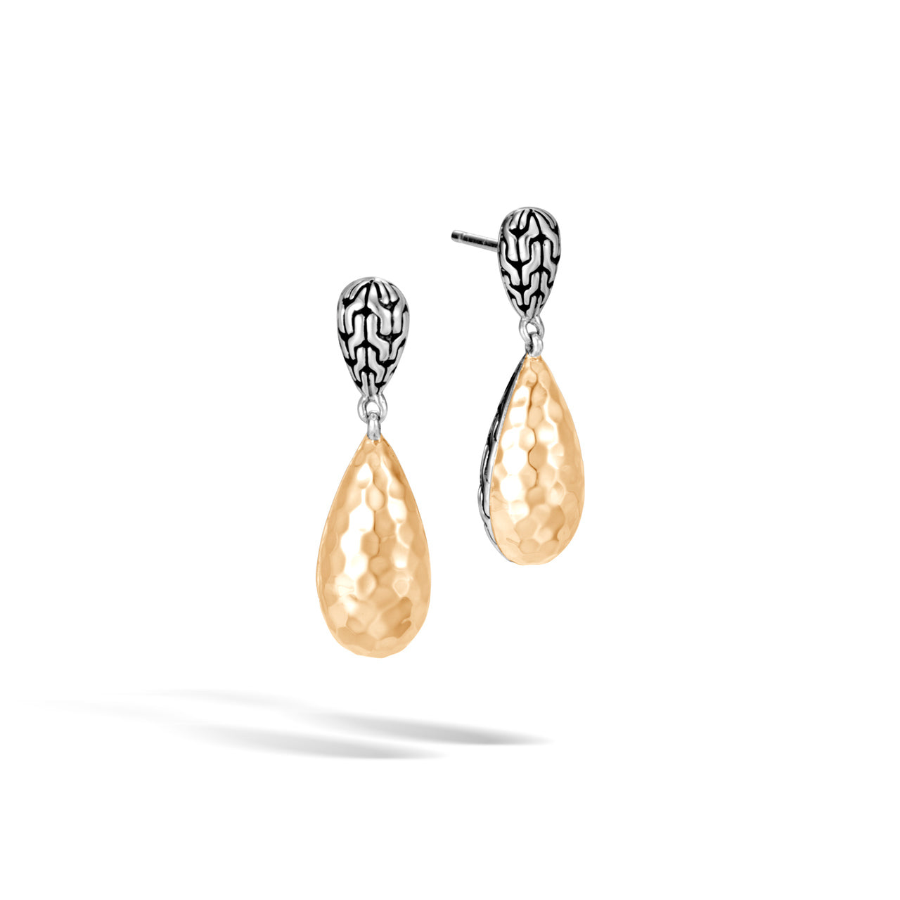John Hardy Classic Chain Sterling Silver and Yellow Gold Drop Earrings