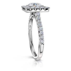 The Studio Collection Princess Cut Diamond Halo and Diamond Shank Engagement Ring