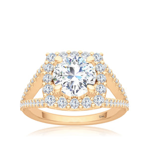 The Studio Collection Round Diamond Cushion Halo Split Shank Engagement Ring